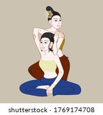 thai massages style in colorful ... | Shutterstock .eps vector #1769174708