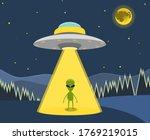 Ufo Flying Spaceship. Alien In...