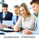 smiling businesswoman posing... | Shutterstock . vector #176925626