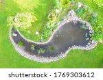 Aerial Top View Garden Pond....
