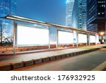 blank billboard on bus stop at... | Shutterstock . vector #176932925