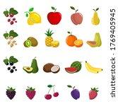 big set of fruits and berries.  ...   Shutterstock .eps vector #1769405945