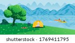 tourists traveling and camping... | Shutterstock .eps vector #1769411795