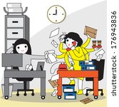 overworked  office syndrome... | Shutterstock .eps vector #176943836