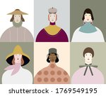 diverse female portraits of... | Shutterstock .eps vector #1769549195