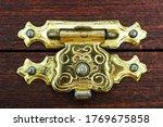 Close Up Brass Latch Lock On A...