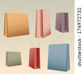 shopping set colorful paper bag ... | Shutterstock . vector #176972732