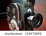 vintage movie camera with film... | Shutterstock . vector #176973095