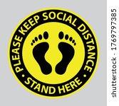 social distance floor sticker...   Shutterstock .eps vector #1769797385