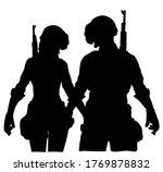 battle royale silhouette couple ... | Shutterstock .eps vector #1769878832