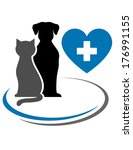 Stock vector dog cat blue heart with cross and decorative lines 176991155