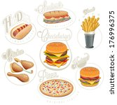 retro vintage style fast food... | Shutterstock .eps vector #176996375