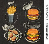retro vintage style fast food...   Shutterstock .eps vector #176996378