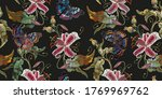Embroidery Tiger Lilies And...