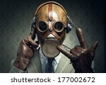 Man Wearing Gas Mask And...