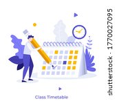 boy making notes in calendar or ... | Shutterstock .eps vector #1770027095