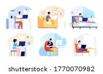 home office. work from house ... | Shutterstock .eps vector #1770070982