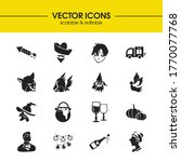 holiday icons set with petard ...
