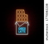 neon chocolate sign. glowing...