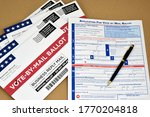 Small photo of Mockup of Vote by Mail Ballot envelopes and application letter to vote by mail for election.