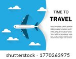 airplane flight white clouds on ... | Shutterstock .eps vector #1770263975