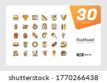fast food line colored icon set....