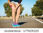female runner knee injury and... | Shutterstock . vector #177029225