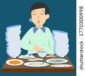 a man's very full after eating... | Shutterstock .eps vector #1770300998