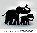 mother and baby elephant  | Shutterstock .eps vector #177030845