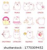 feline horoscope. set of zodiac ...   Shutterstock .eps vector #1770309452