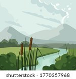 river landscape with reed and...   Shutterstock .eps vector #1770357968