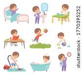 preschool kid daily routine... | Shutterstock .eps vector #1770395252