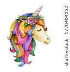 cute  magic unicorn portrait ... | Shutterstock . vector #1770404252