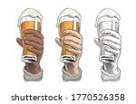 hand holding a beer pint.... | Shutterstock .eps vector #1770526358