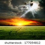 Stormy Weather Over Wheat Field