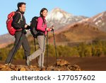 hikers people hiking   healthy... | Shutterstock . vector #177057602