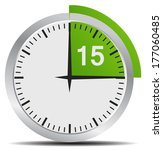 clock 15 minutes to go   bright ... | Shutterstock .eps vector #177060485