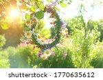 Wreath of wild meadow flower in ...