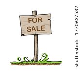 land for sale wooden sign  a... | Shutterstock .eps vector #1770637532