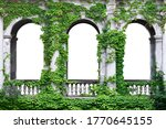 Stone Arch Covered With Green...