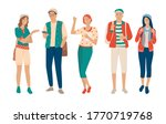 set of young men and women ... | Shutterstock .eps vector #1770719768