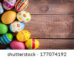 Stock photo easter eggs on wooden background 177074192