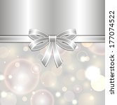 silver card template with bow... | Shutterstock . vector #177074522