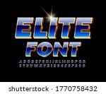 Vector Elite Font. 3d Blue And...
