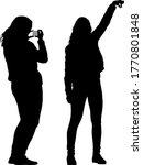silhouettes woman taking selfie ... | Shutterstock .eps vector #1770801848