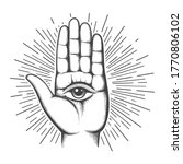 open hand with the all seeing... | Shutterstock .eps vector #1770806102