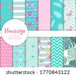cute seamless flamingo pattern...   Shutterstock .eps vector #1770843122