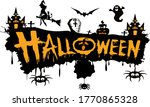 halloween text  with witch ... | Shutterstock .eps vector #1770865328