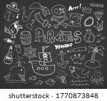 pirate doodles set. cute pirate ... | Shutterstock .eps vector #1770873848