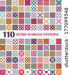 110 retro seamless patterns... | Shutterstock .eps vector #177099548